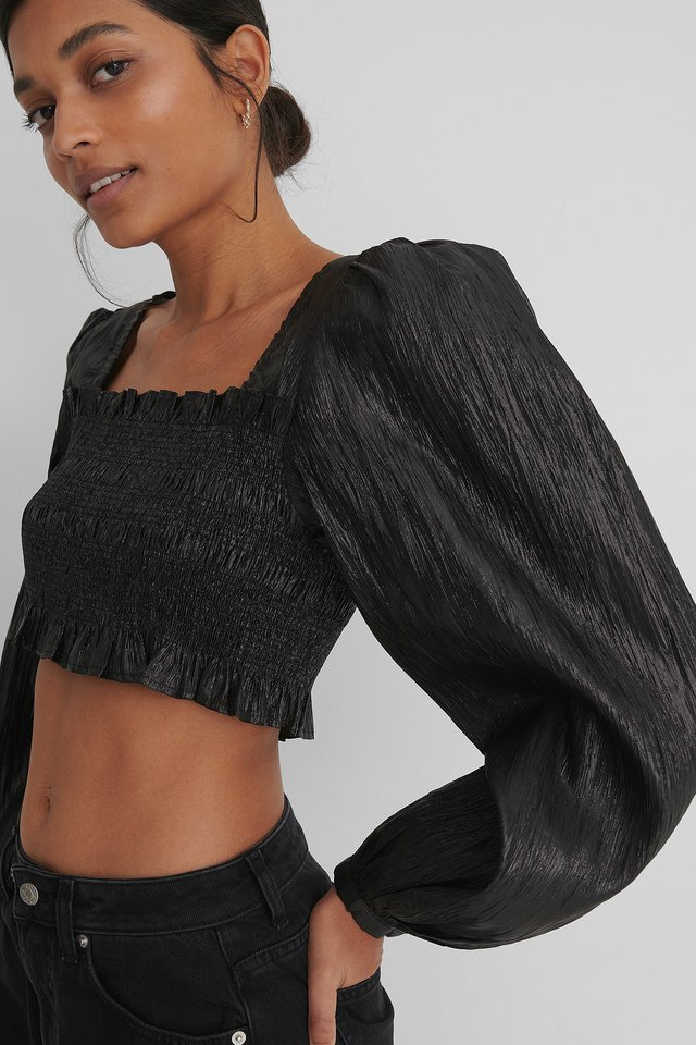 Shiny Smocked Cropped Top Black