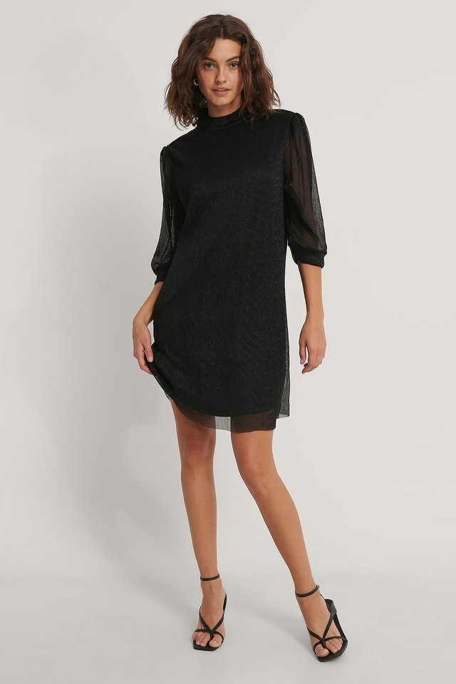 Black Shiny Straight Dress