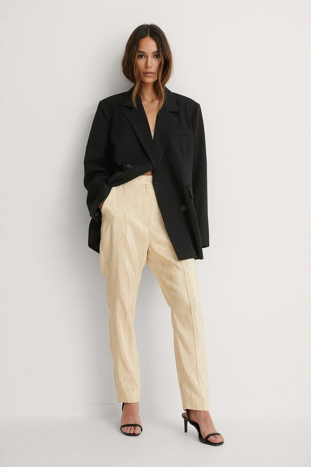 Shiny Straight Suit Pants Gold