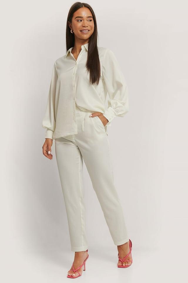 White Shiny Tapered Pants
