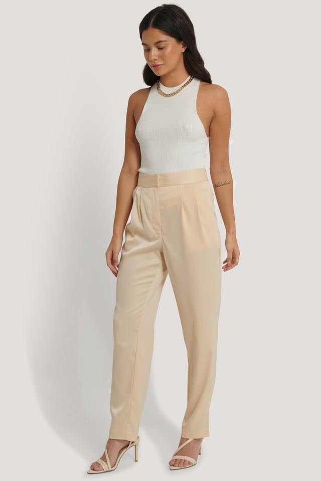 Cream Shiny Tapered Pants