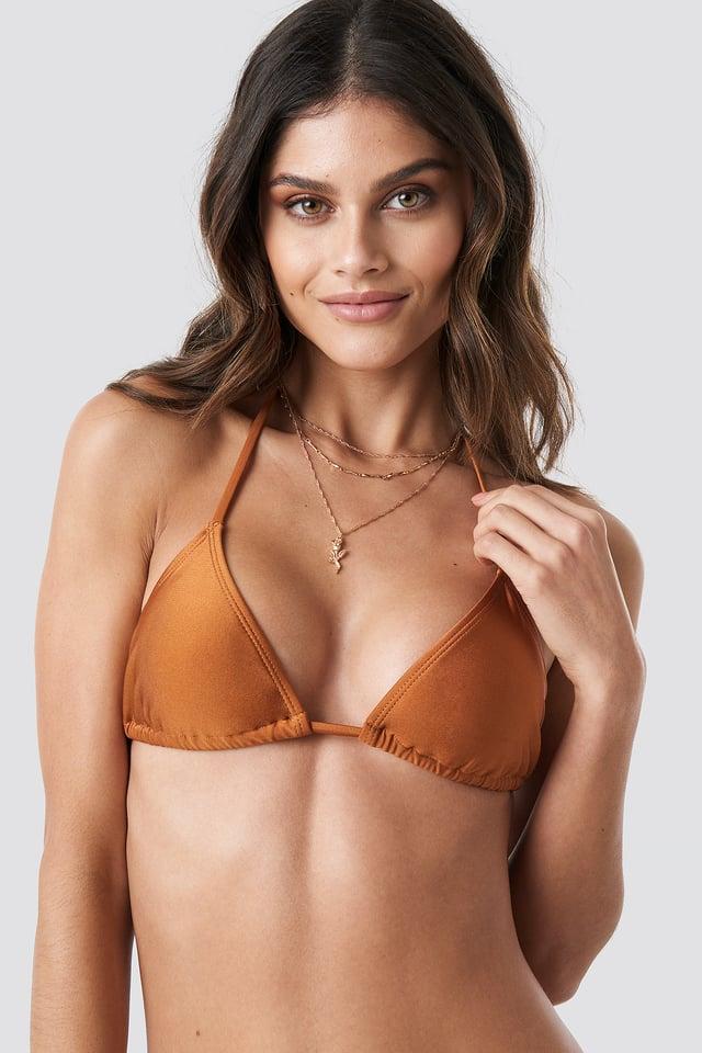 Copper Shiny Triangle Bikini Top