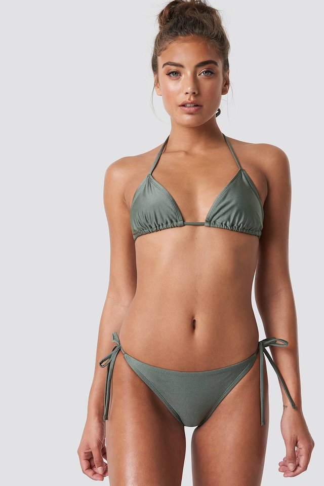 Shiny Triangle Panty Khaki Green