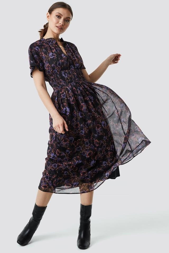 Shirred Detail Flowy Chiffon Dress Blue Carnesbill
