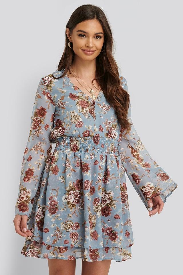 Sukienka Z Marszczeniami Blue Floral