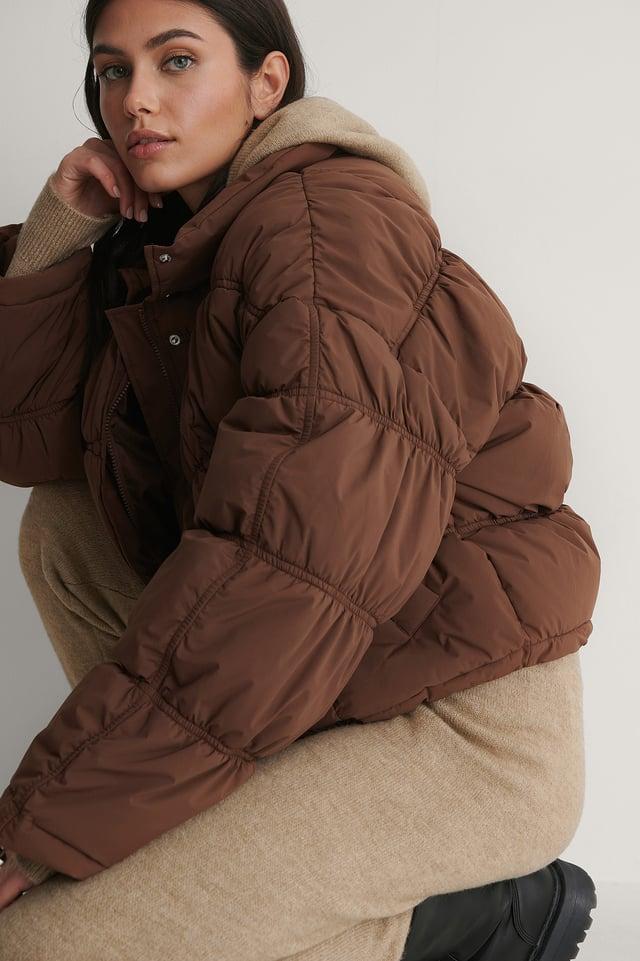 Nougat Shirred Detail Padded Jacket