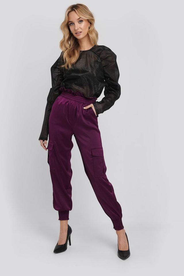 Shirred Hem Cargo Pants Plum