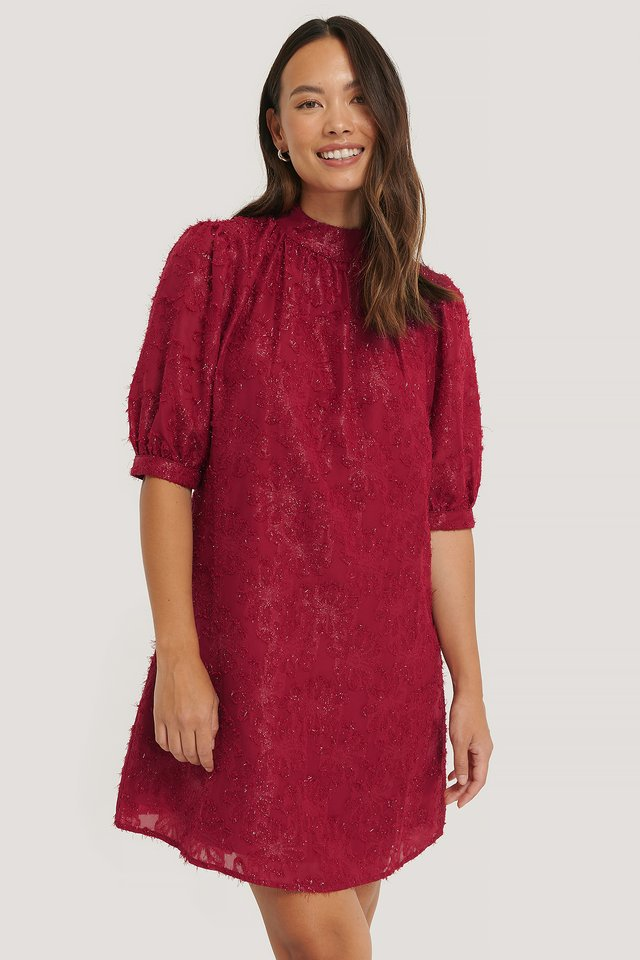 Shirred High Neck Flower Dress Burgundy