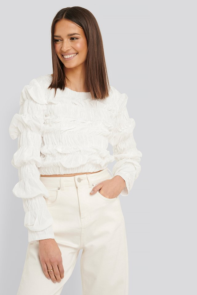 Shirred Long Sleeve Top White