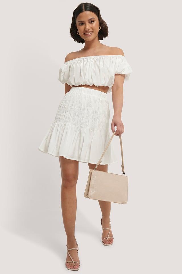 White Shirred Mini Skirt
