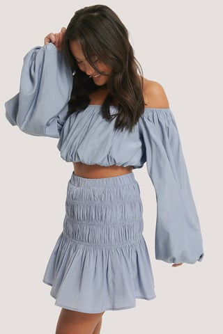Dusty Blue Shirred Mini Skirt