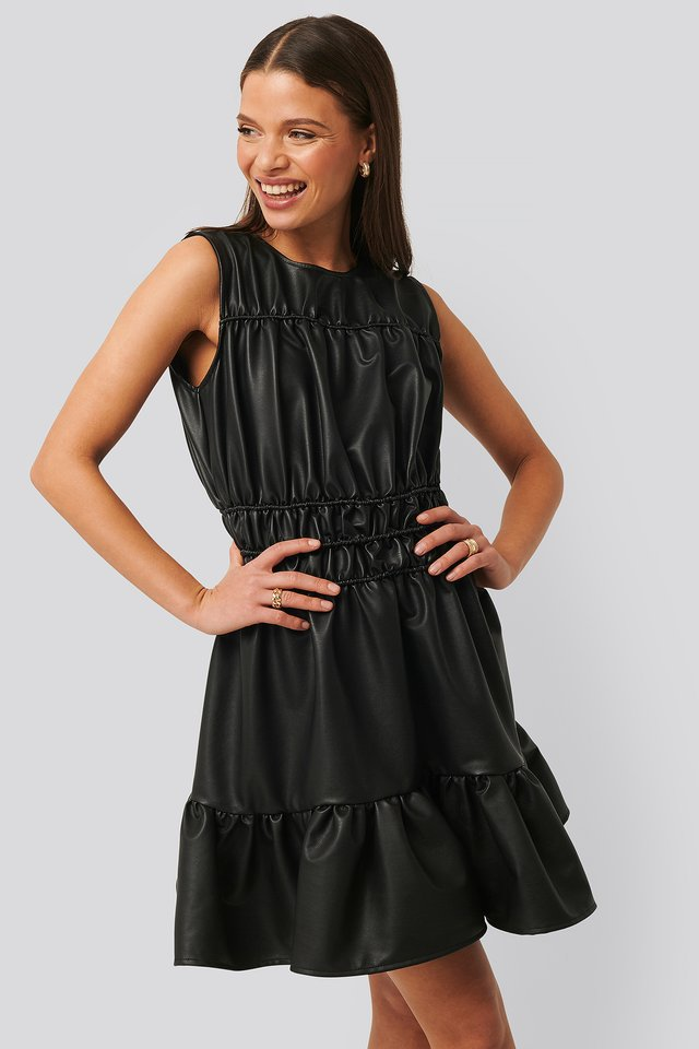 Shirred PU Dress Black