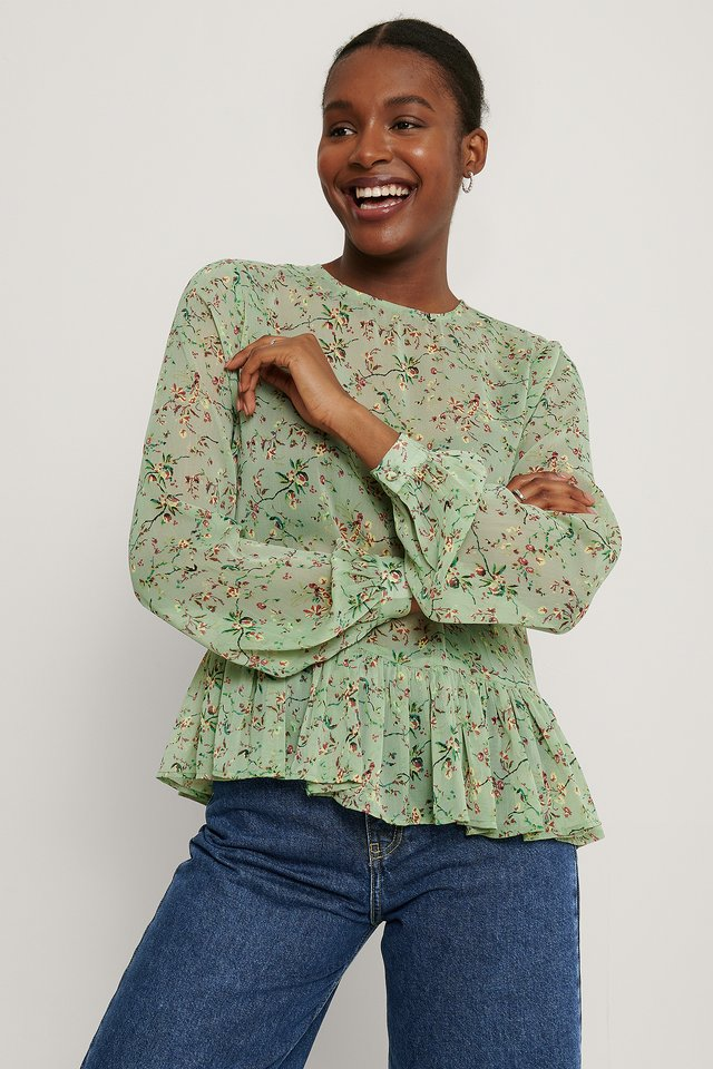 Green Flower Shirred Round Neck Flounce Blouse