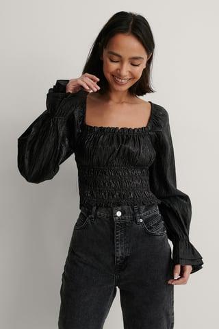Black Strukturierte Bluse Mit Langen Ärmeln