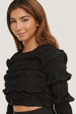 Black Shirred Long Sleeve Top