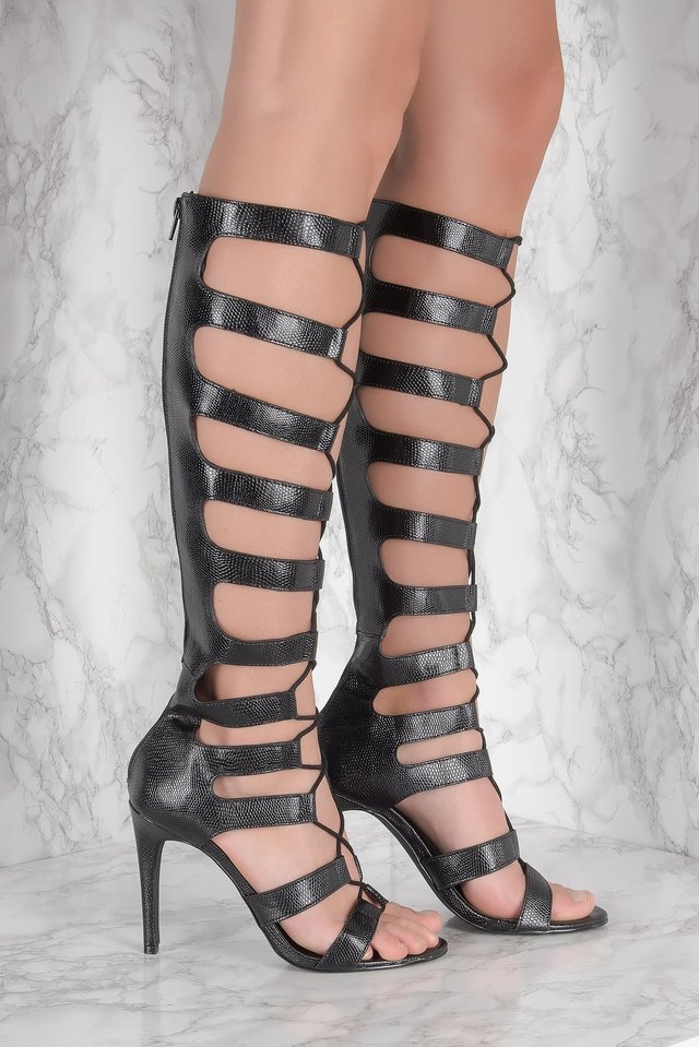 Gladiator High Heels Black