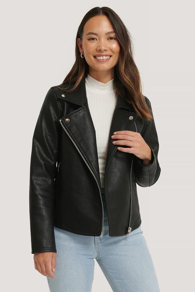 Short Back Biker Jacket Black