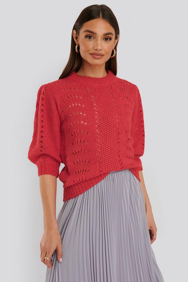 Red Short Balloon Sleeve Knit