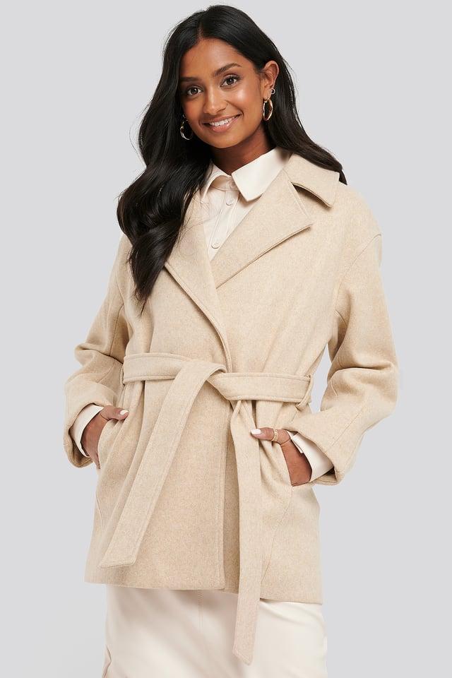 Short Belted Coat Beige