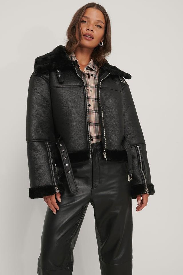 Short Bonded Aviator Jacket Black
