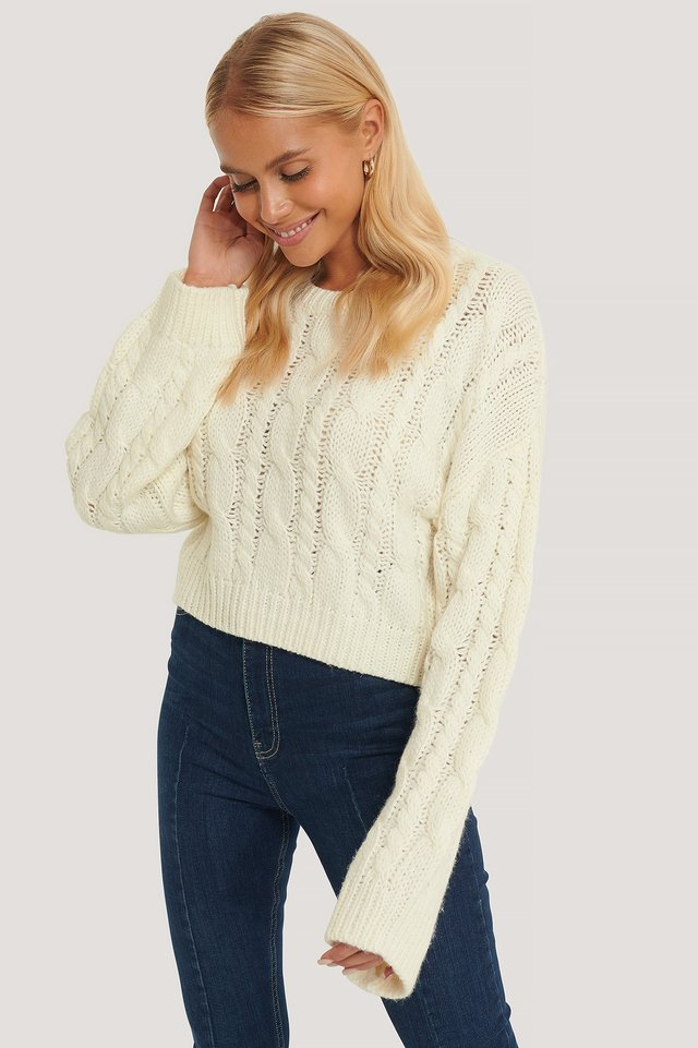 Short Cable Knit Sweater White
