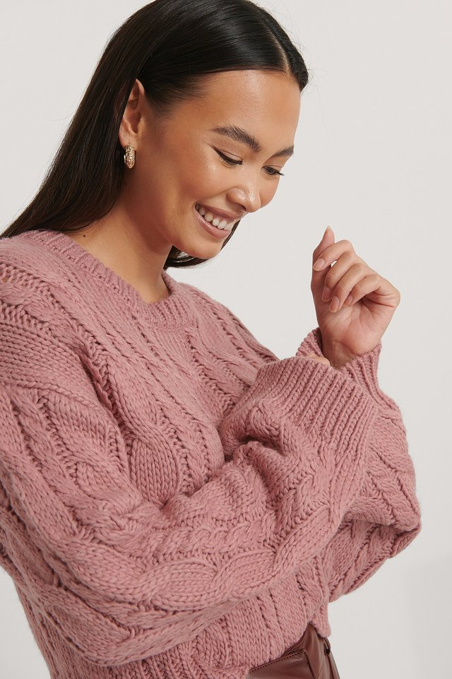Short Cable Knit Sweater Dusty Pink