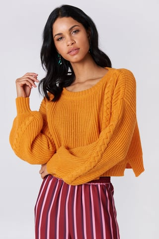 Orange Short Cable Knitted Sweater