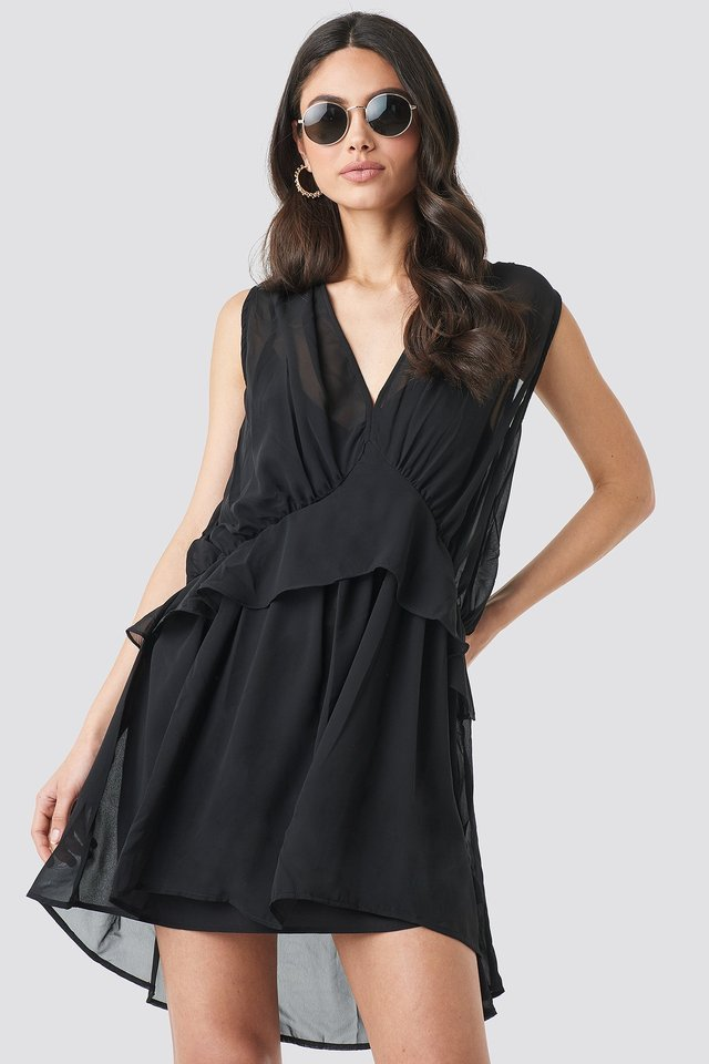 Short Chiffon Dress Black