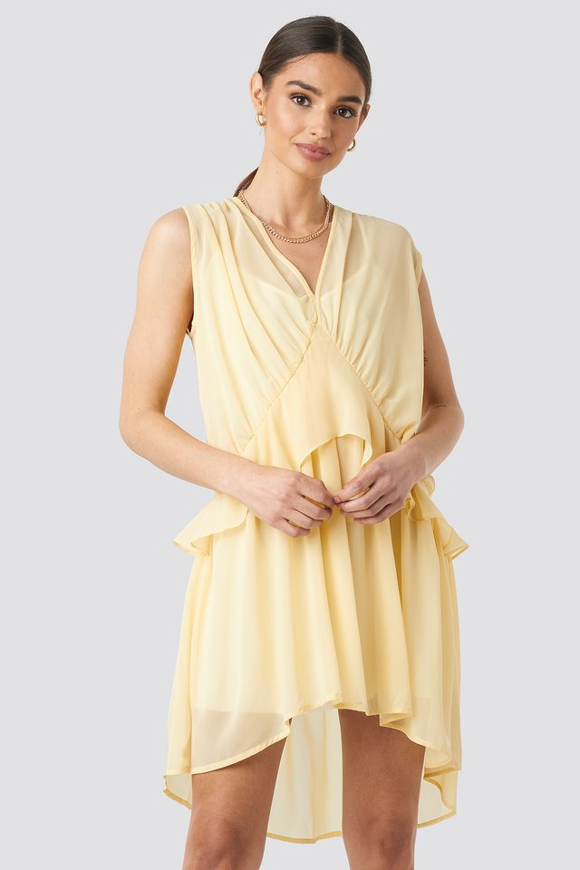 Short Chiffon Dress Light Yellow