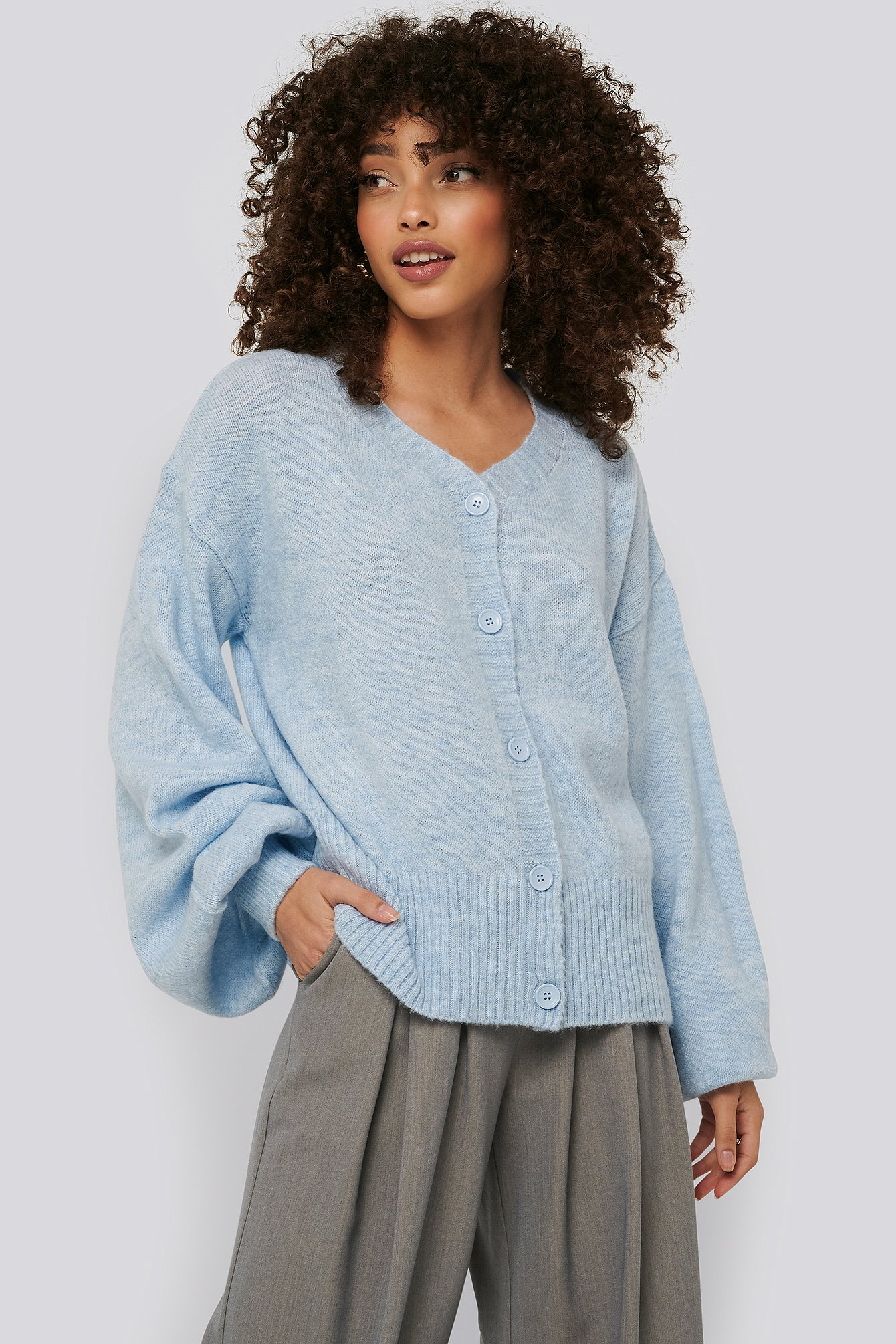Pearl Detailed Knitted Cardigan Niebieski | na