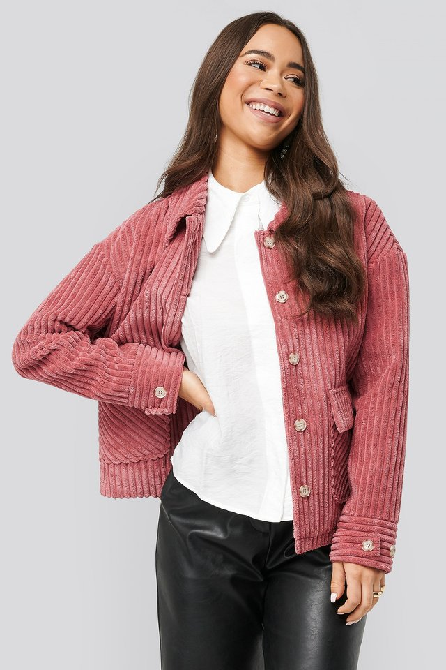 Short Corduroy Coat Dusty Rose
