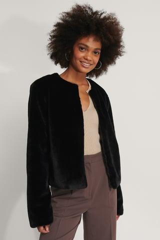 Black Short Faux Fur Jacket