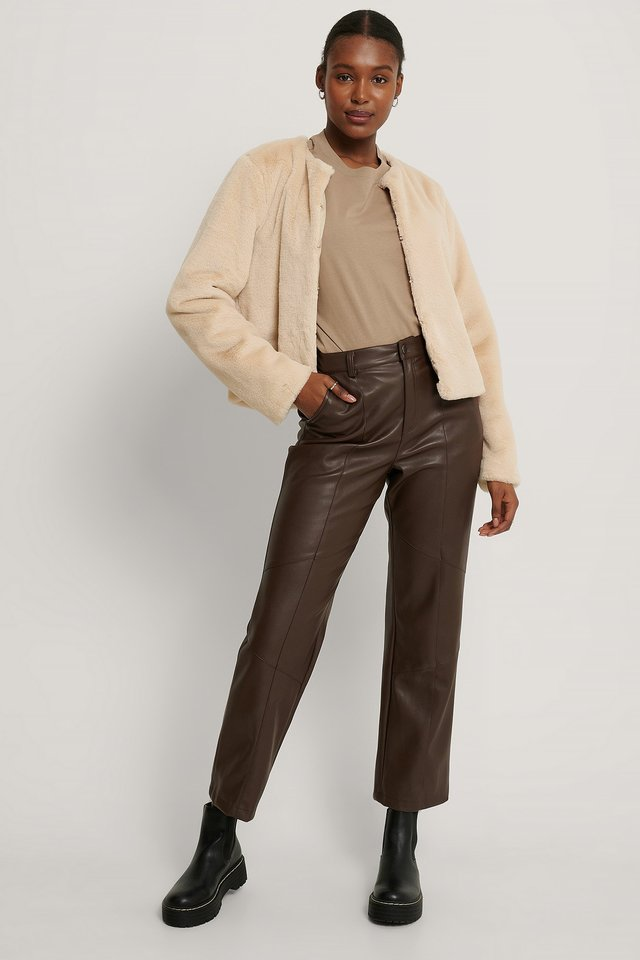 Short Faux Fur Jacket Light Beige
