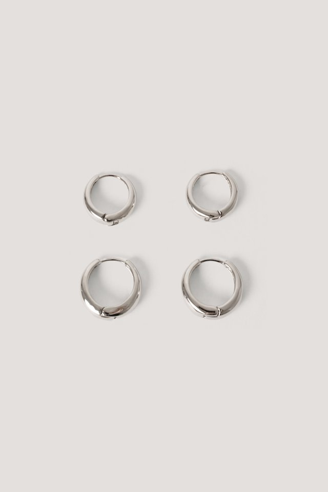 Short Hoop Earrings (2-Pack) Silver