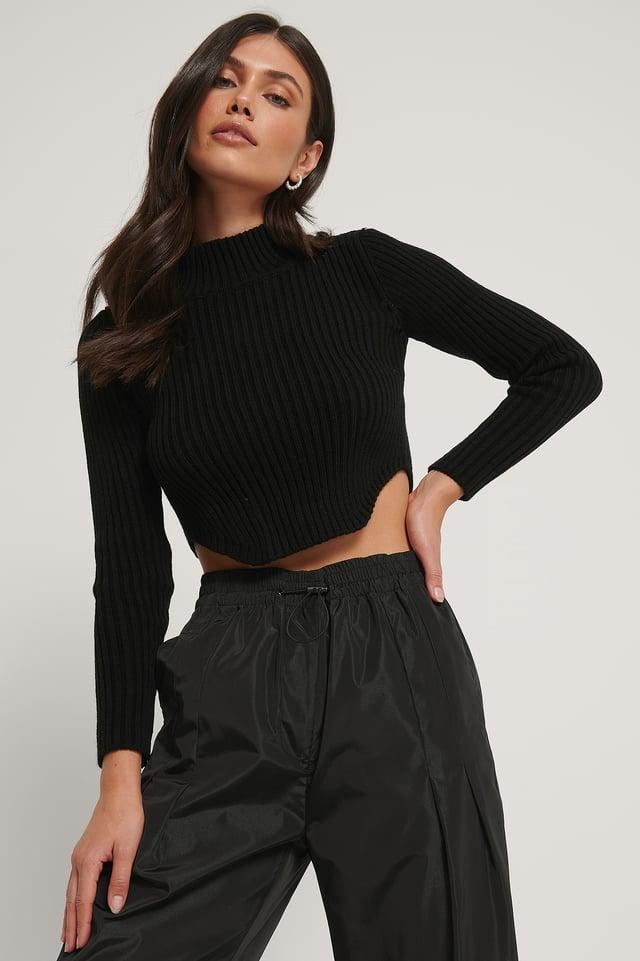 Black Sweter Z Dzianiny