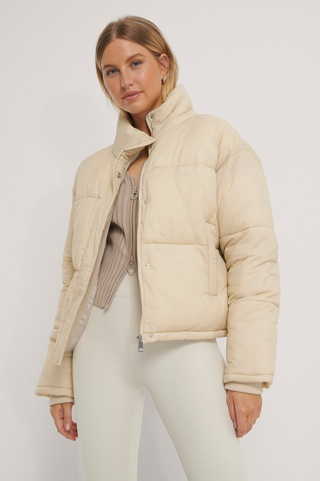 Short Padded Zipped Jacket Beige