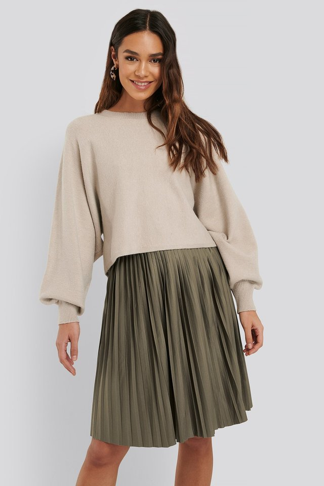 Short Pleated Skirt Khaki