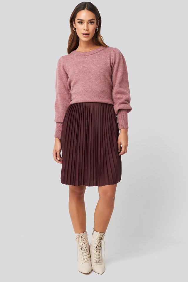 Short Pleated Skirt Burgundy