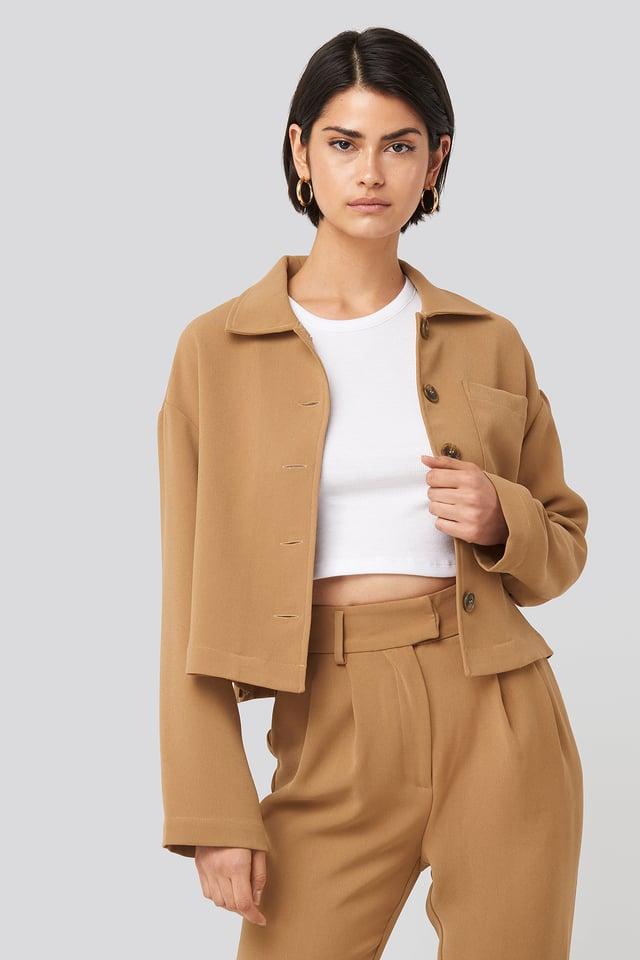 Short Pocket Overshirt Beige