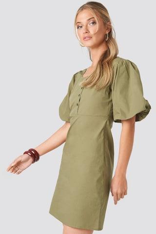 Dark Green Short Puff Sleeve Button Up Dress