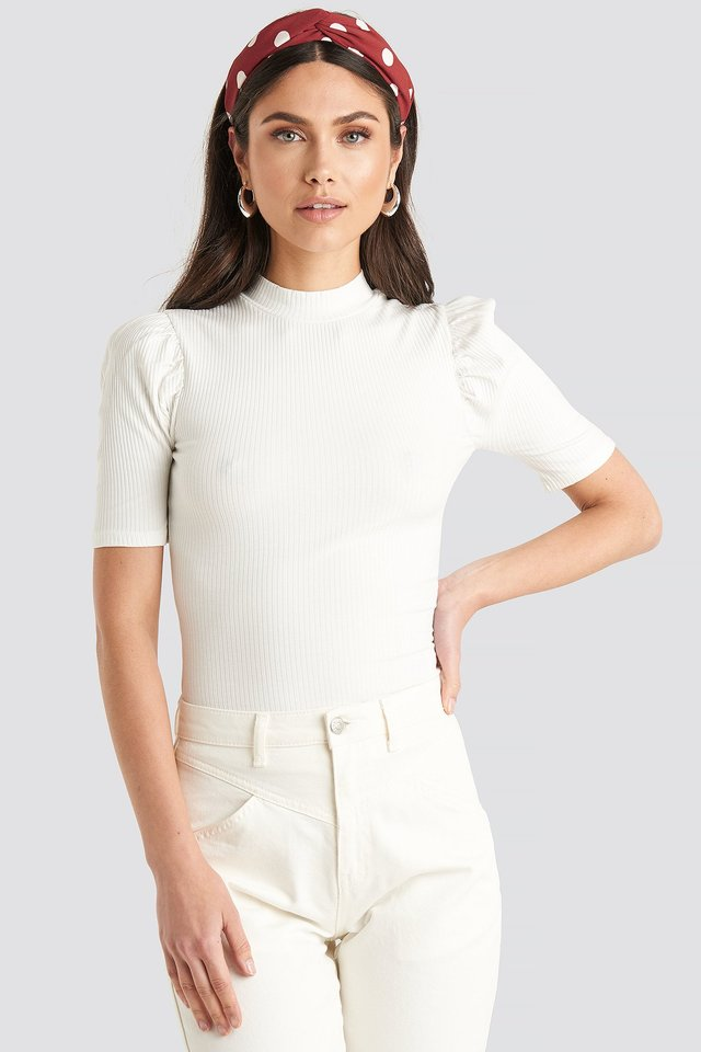 Offwhite Short Puff Sleeve High Neck Ribbed Top