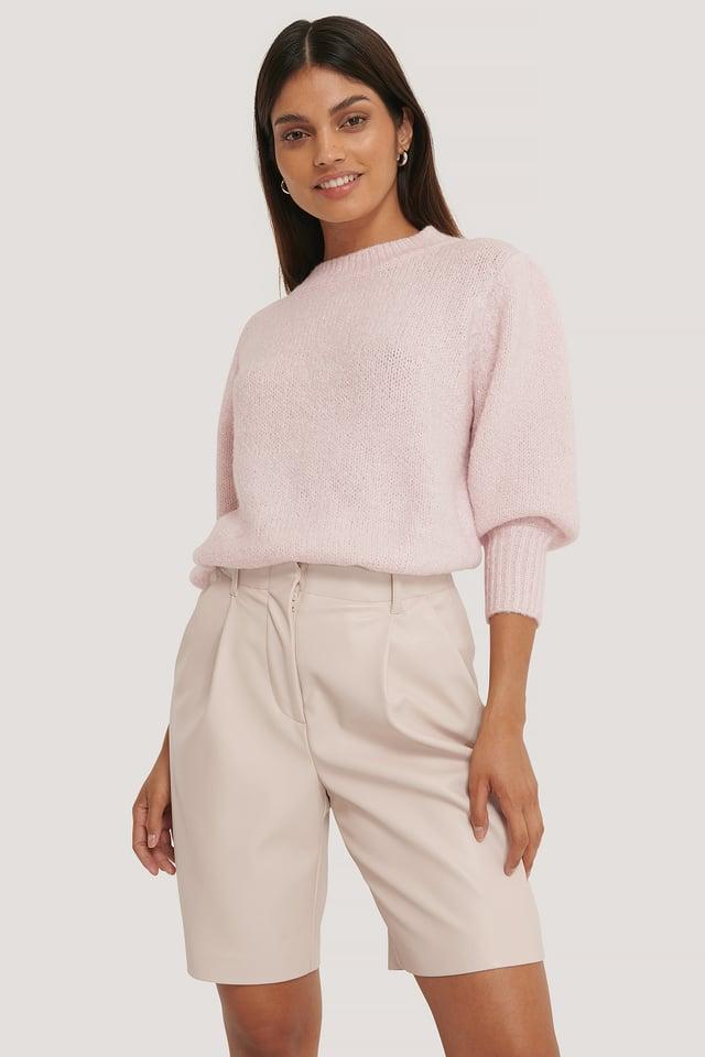 Light Pink Short Puff Sleeve Knitted Sweater