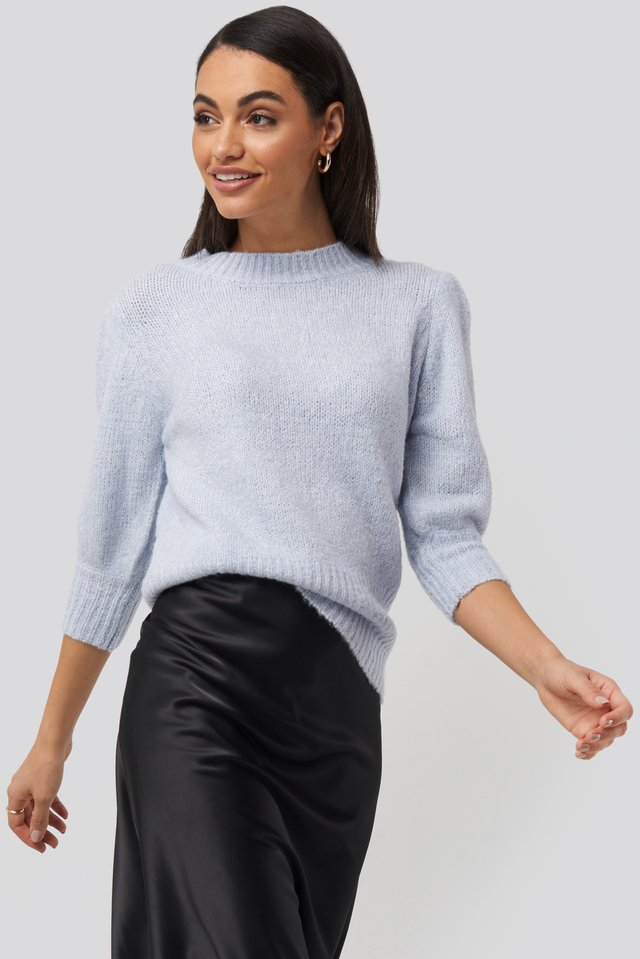 Short Puff Sleeve Knitted Sweater White