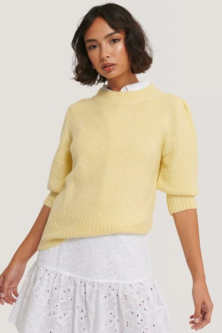 Light Yellow Short Puff Sleeve Knitted Sweater