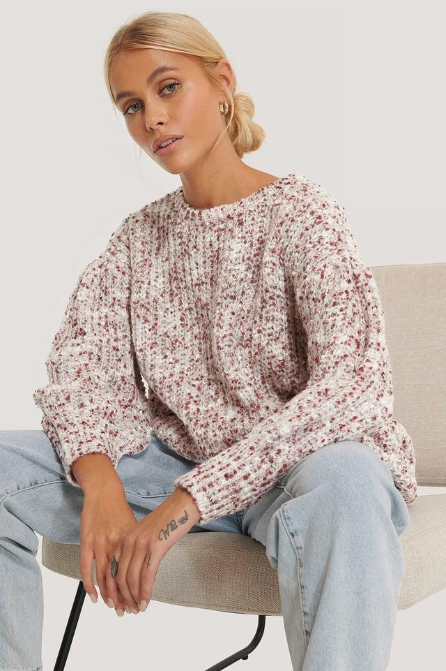 Plum Short Puff Sleeve Melange Sweater
