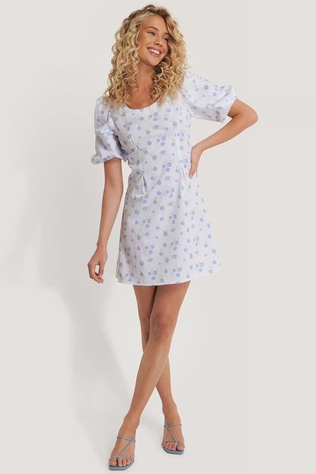 Short Puff Sleeve Mini Dress White/Flower print
