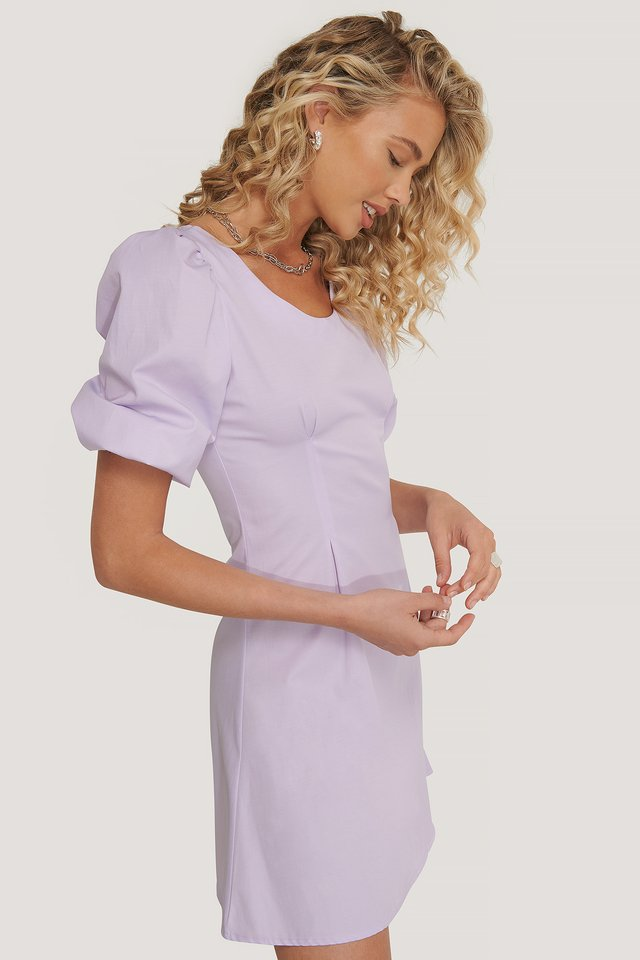 Short Puff Sleeve Mini Dress Pastel Lilac