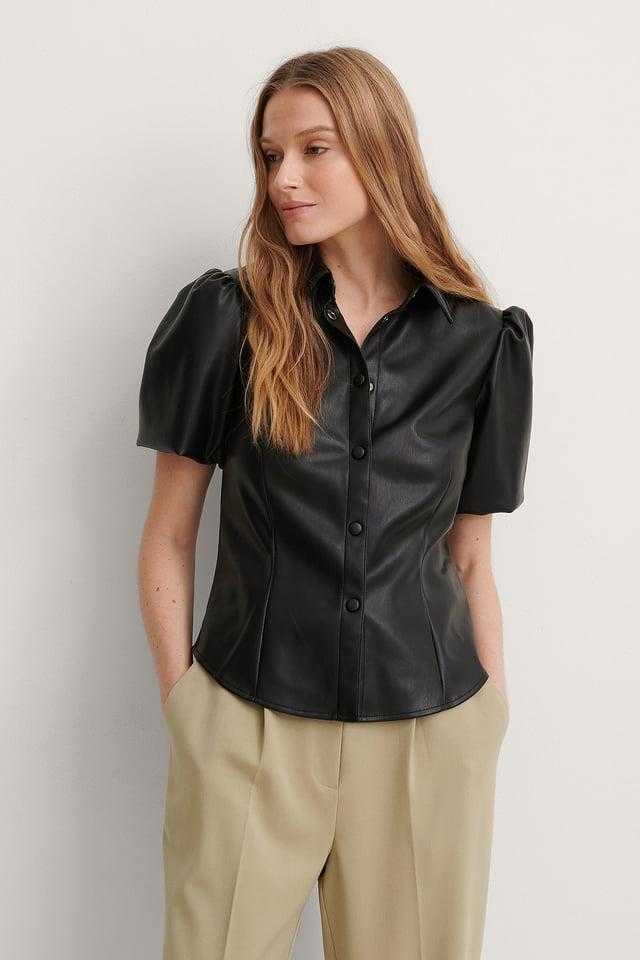 Black Short Puff Sleeve PU Blouse