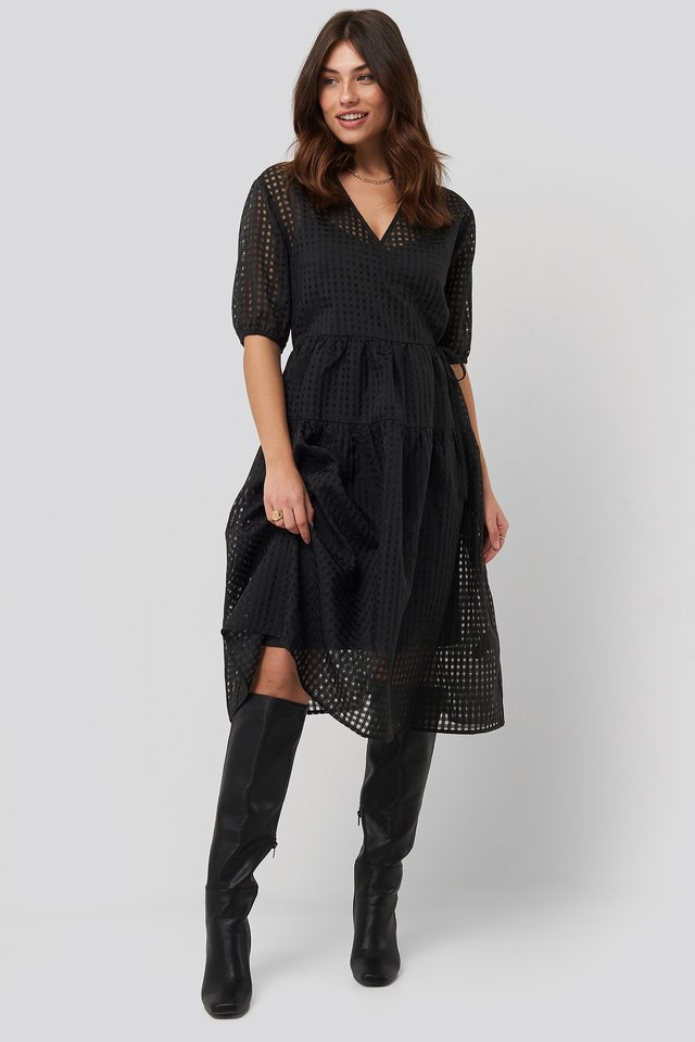 Short Puff Sleeve Wrap Dress Black