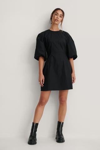 Black Short Puff Sleeves Slim-Fit Dress